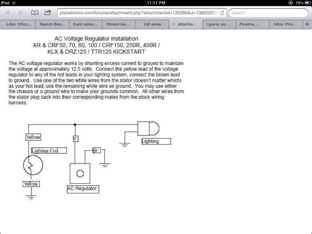Best way to run lights without battery – Lifan 140 Wiring-diagram