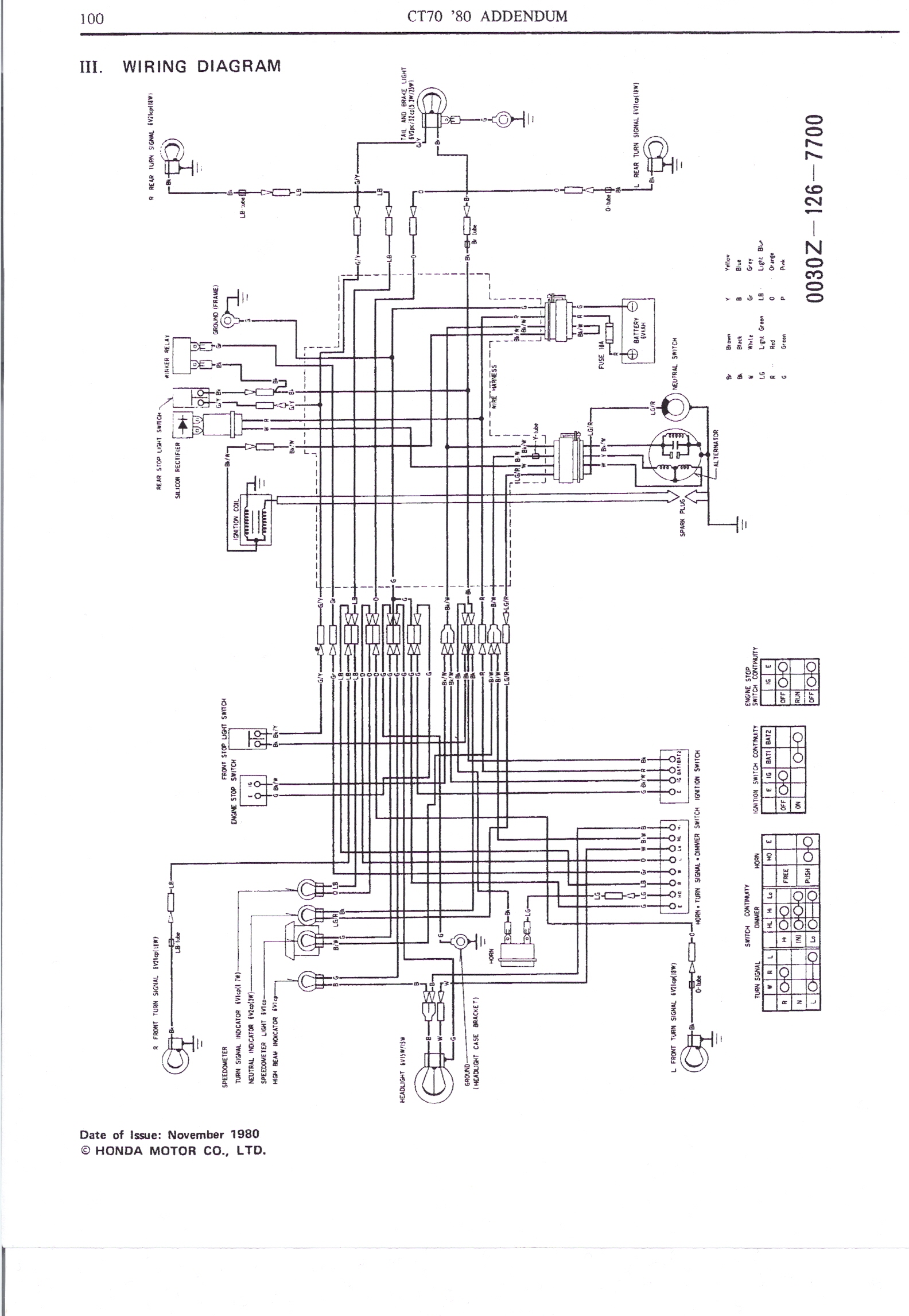 1993 honda ct70 wiring diagram