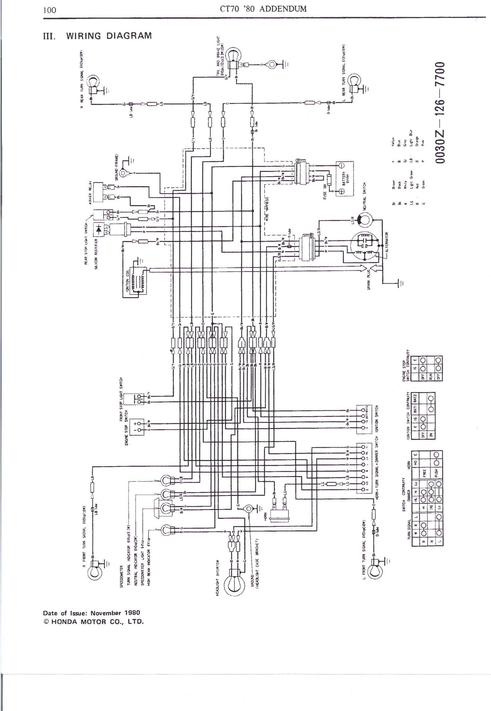 1971 honda ct 70 wiring diagram 1970 honda ct70 wiring
